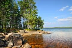 Jeziorny Engozero, Północny Karelia, Rosja Obrazy Stock