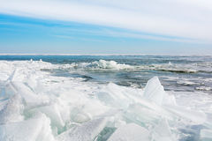 Jeziorny Erie lód fotografia royalty free