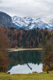 Jeziorny Freibergsee z jesień lasem w Niemieckich alps Zdjęcia Royalty Free