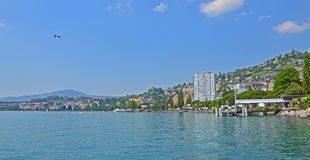 Jeziorny Genewa, Montreux, Szwajcaria Zdjęcie Stock