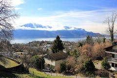 Jeziorny Genewa od Montreux, Szwajcaria Fotografia Royalty Free
