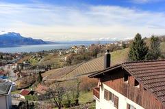 Jeziorny Genewa od Montreux, Szwajcaria Obrazy Royalty Free