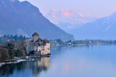 Jeziorny Genewa przy zmierzchem Obraz Royalty Free