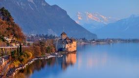 Jeziorny Genewa przy zmierzchem Obrazy Royalty Free