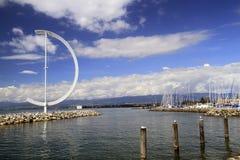 Jeziorny Genewa w Lausanne, Szwajcaria 15 2016 Dec fotografia stock