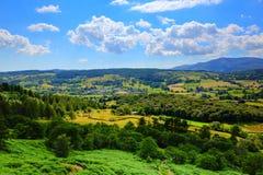 Jeziorny Gromadzki wieś widok Hawkshead wioska Anglia uk Obraz Stock