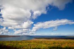 Jeziorny Huron przy przylądka Croker jesieni spadku Lasowych drzew krajobrazem Zdjęcia Royalty Free