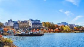 Jeziorny kawaguchiko w jesieni Zdjęcie Stock