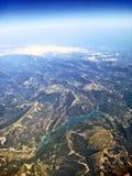 Jeziorny Lac De Castillon - widok z lotu ptaka zdjęcie stock