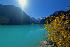 Jeziorny Louise na słonecznym dniu obrazy royalty free