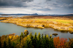 Jeziorny Myvatn w spadku Fotografia Royalty Free