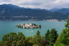 Jeziorny Orta, San Giulio wyspa Zdjęcie Royalty Free