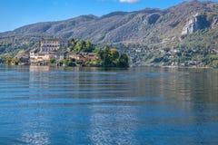 Jeziorny Orta, San Giulio wyspa Obraz Royalty Free