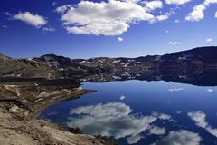 Jeziorny Oskjuvatn w średniogórzach Iceland fotografia stock