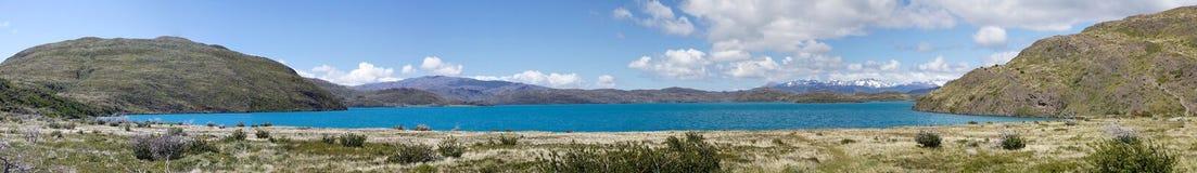 Jeziorny Pehoè w Torres Del Paine parku narodowym, Magallanes region, południowy Chile fotografia stock