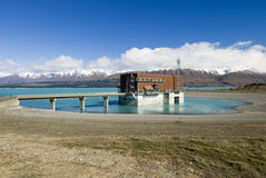 Jeziorny Pukaki, wodna elektrownia, Nowa Zelandia fotografia stock