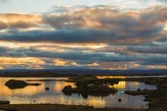 Jeziorny regionu myvatn Fotografia Royalty Free