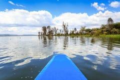 Jeziorny rejs błękita czółnem, Naivasha, Kenja Obrazy Royalty Free