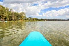 Jeziorny rejs błękita czółnem, Naivasha, Kenja Zdjęcia Royalty Free