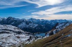 Jeziorny Seealpsee w halnym krajobrazie Allgau Alps, Niemcy Zdjęcia Stock