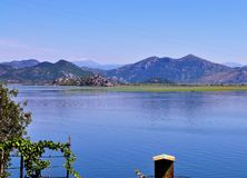 Jeziorny Skadar i góry zdjęcia royalty free