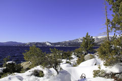 Jeziorny Tahoe - jezioro z śniegiem Fotografia Stock