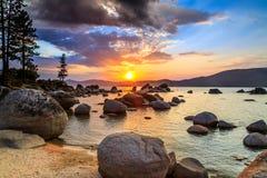 Jeziorny Tahoe zmierzch Zdjęcia Royalty Free