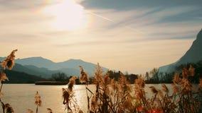 Jeziorny Toblino brzeg na zima słonecznym dniu, Włochy Strzelaj?cy na CZERWONEJ kamerze zdjęcie wideo