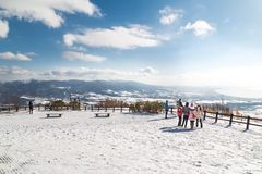 Jeziorny Toya, Japonia, Styczeń 27, 2018: Góra Usu lub Usuzan jest popul Fotografia Royalty Free