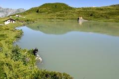 Jeziorny Truebsee nad Engelberg na Szwajcarskich alps Obraz Royalty Free