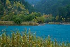 Jeziorny Tsivlou w Grecja podczas jesieni fotografia stock