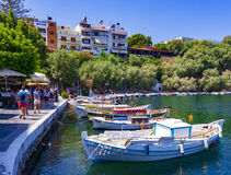 Jeziorny Voulismeni, Agios Nikolaos Obraz Royalty Free