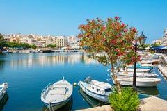 Jeziorny Voulismeni Krety ażio Nikolaos Greece Fotografia Royalty Free