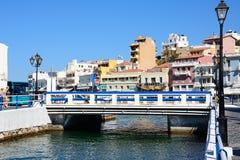 Jeziorny Voulismeni most, Agios Nikolaos Obraz Stock