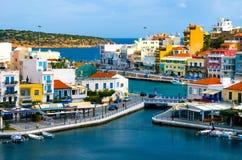 Jeziorny Voulismeni w Agios Nikolaos, Crete, Grecja Obrazy Royalty Free