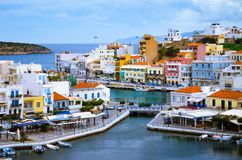 Jeziorny Voulismeni w Agios Nikolaos, Crete, Grecja Obraz Royalty Free