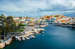 Jeziorny Voulismeni w Agios Nikolaos, Crete, Grecja Fotografia Stock