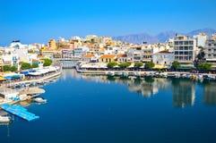Jeziorny Voulismeni w Agios Nikolaos, Grecja Fotografia Royalty Free