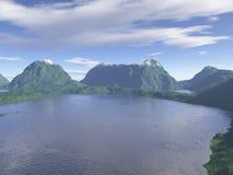 jeziorny widok górski Zdjęcia Stock