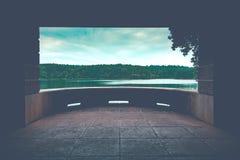 Jeziorny widoku balkon Obraz Royalty Free