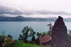 Jeziorny widzieć święty Beatus Zawala się Thun Beatenberg, Szwajcaria (,) zdjęcie royalty free