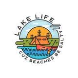 Jeziorny ?ycie logo projekt Nowożytny Ciekły Dynamiczny styl Podróży przygody odznaki łata z wyceną - Cuz plaże byli słone ilustracja wektor