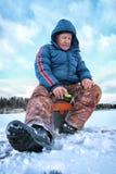 Jeziorny zima rybak Zdjęcia Royalty Free