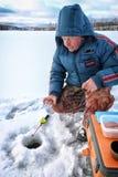 Jeziorny zima rybak Zdjęcie Stock
