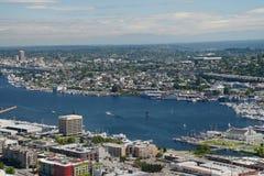 Jeziorny zjednoczenie widzieć od Astronautycznej igły w Seattle Fotografia Royalty Free