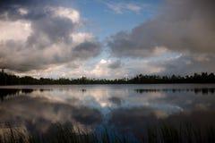 Jezioro, chmury i odbicie, Fotografia Royalty Free