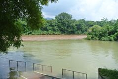 Jezioro dwa koloru w Tabasco zdjęcia stock