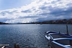 Jezioro Ganzirri, Messina, Sicily, Włochy Obraz Stock