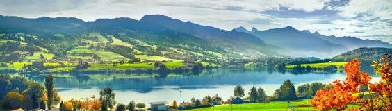 Jezioro Gruyere, kanton Fribourg, Szwajcaria obraz stock
