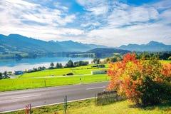 Jezioro Gruyere, kanton Fribourg, Szwajcaria zdjęcia stock